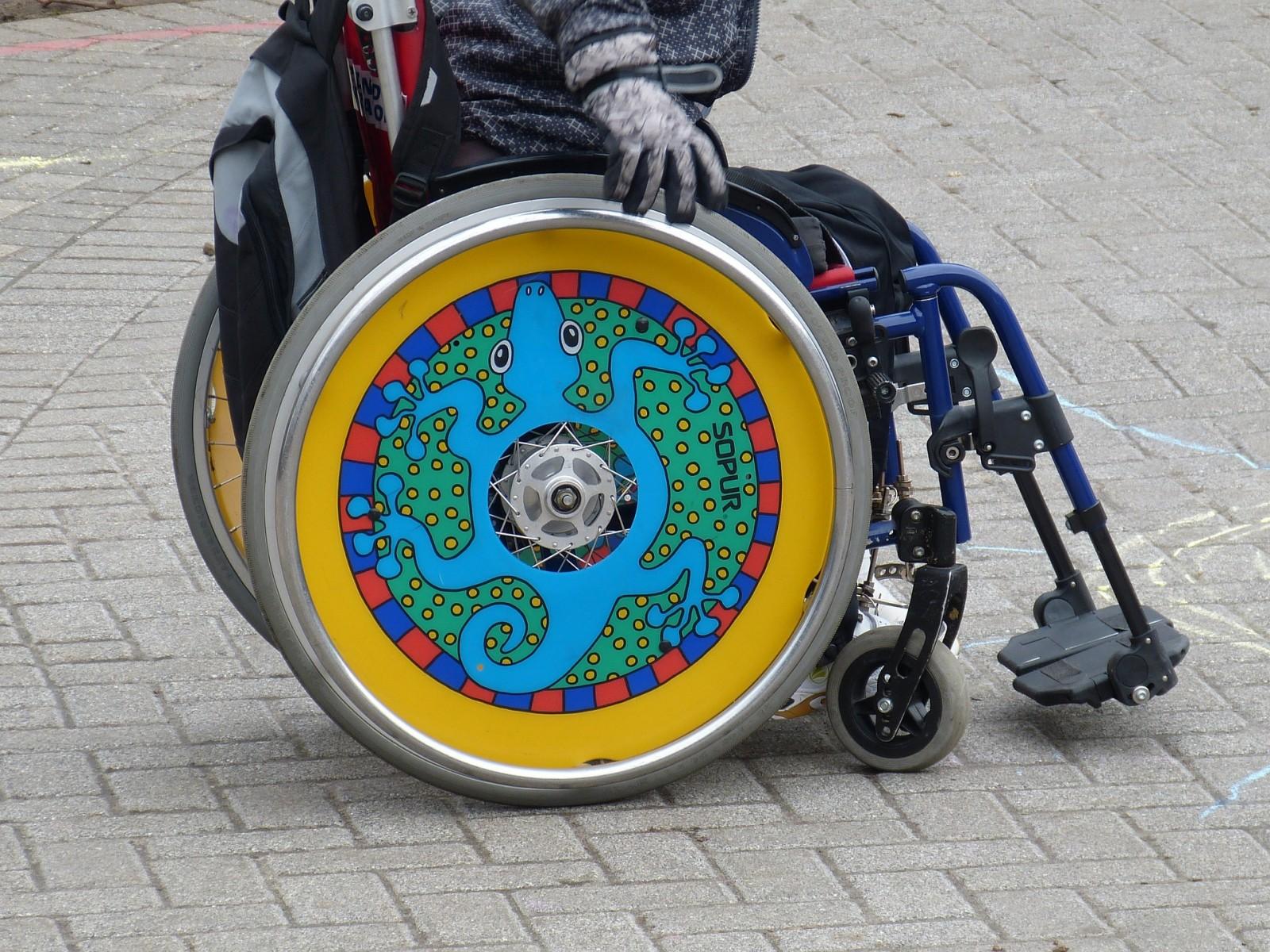 sedia a rotelle colorata